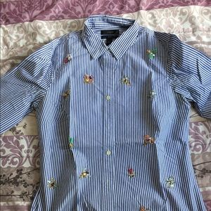 J.Crew Perfect Shirt with Bee Embellishment